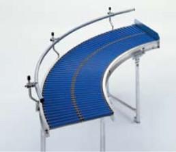 Kurve 45° Kleinrollenbahn Kunststoff - Breite 200 mm